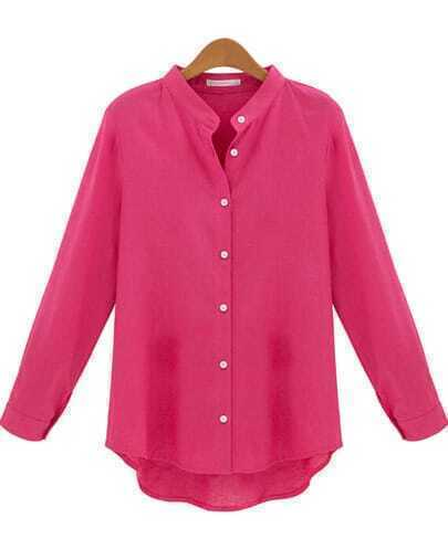 Rose Red Long Sleeve Slim Buttons Blouse