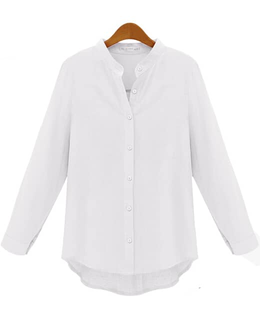 White Long Sleeve Slim Buttons Blouse