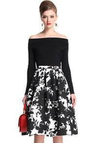 Black Boat Neck Vintage Floral Top With Flare Skirt