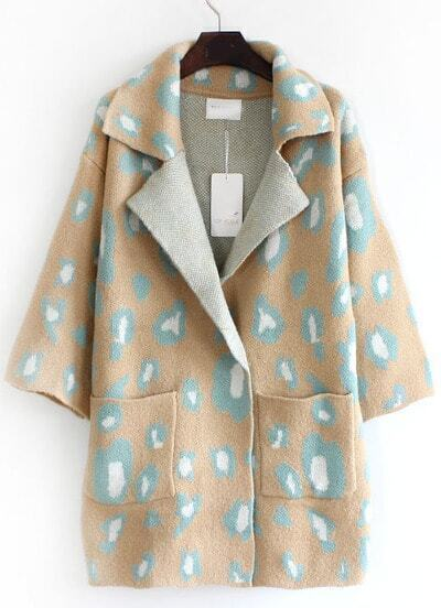 Camel Lapel Leopard Pockets Loose Cardigan