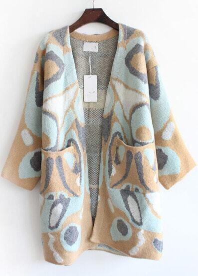 Cárdigan suelto leopardo bolsillos-camello