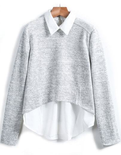 Grey Lapel Long Sleeve Knit Sweater