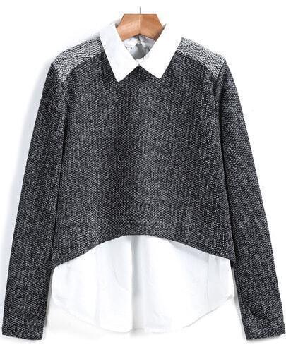 Black Lapel Long Sleeve Knit Sweater