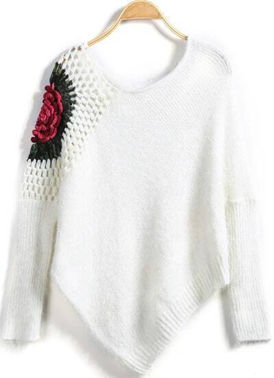 White Crochet Hollow Loose Knit Sweater