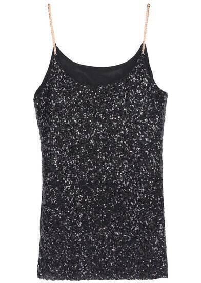 Black Spaghetti Strap Sequined Cami Top