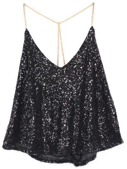 Black Criss Cross Sequined Cami Top