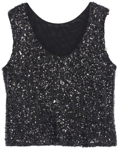 Black Sleeveless Sequined Geometric Tank Top