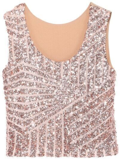 Apricot Sleeveless Sequined Geometric Tank Top