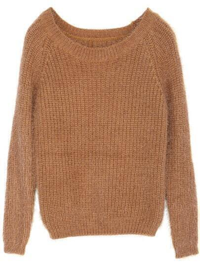 Brown Long Sleeve Loose Mohair Sweater