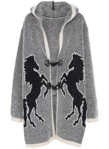Grey Hooded Long Sleeve Horse Print Cardigan