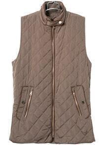 Khaki Stand Collar Sleeveless Pockets Vest