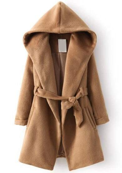Khaki Hooded Long Sleeve Belt Coat
