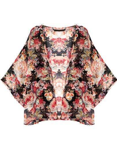 Black Long Sleeve Floral Chiffon Kimono