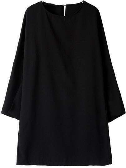 Black Round Neck cape style Dress
