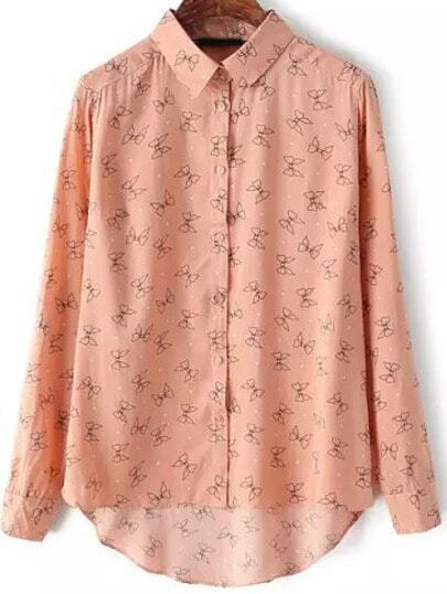 Pink Lapel Bow Print Loose Blouse