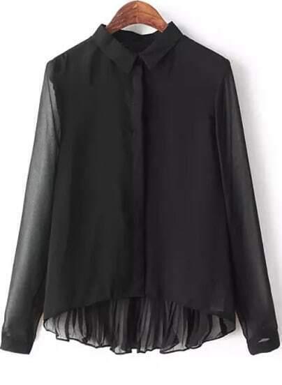 Black Lapel High-Low Blouse