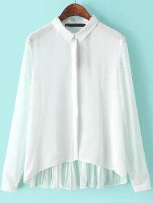 White Lapel High-Low Blouse