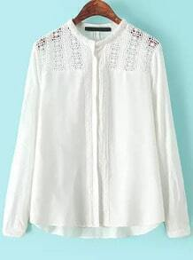 White Stand Collar Floral hollow Blouse