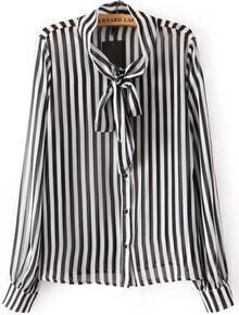 Black Long Sleeve Bow Embellished Striped Blouse