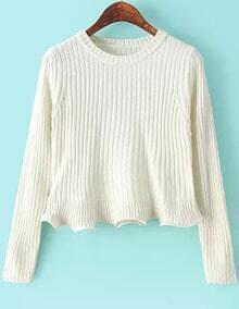 White Round Neck Long Sleeve Peplum Knit Sweater