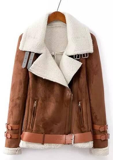 Coffee Lapel Long Sleeve Belted Suede Coat