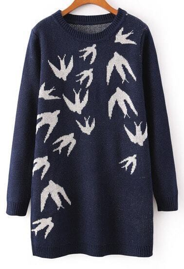 Navy Long Sleeve Swallow Print Knit Sweater