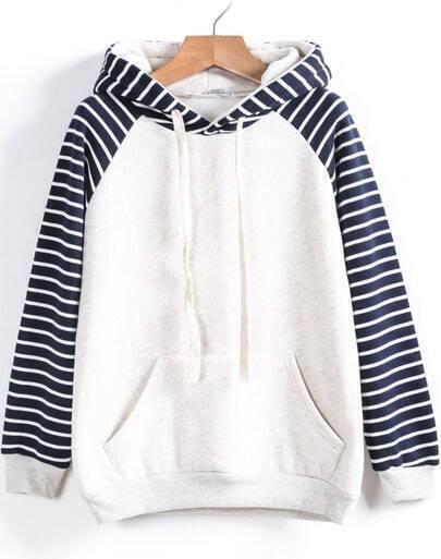 White Contrast Striped Hooded Loose Sweatshirt