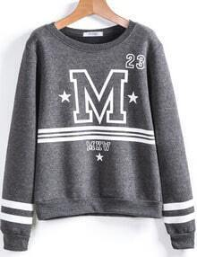 Grey Long Sleeve M Print Loose Sweatshirt