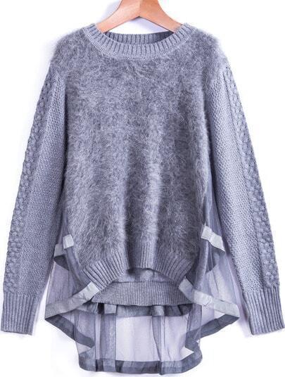 Grey Contrast Sheer Mesh Mohair Sweater