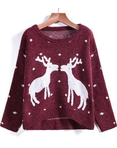 Red Long Sleeve Deer Print Knit Sweater