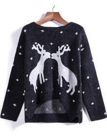 Black Long Sleeve Deer Print Knit Sweater