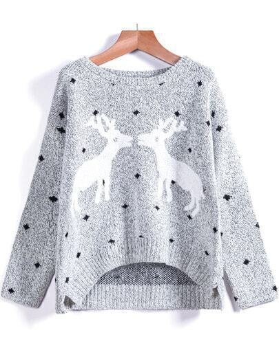 Grey Long Sleeve Deer Print Knit Sweater