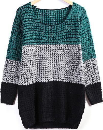 Green Long Sleeve Stiped Knit Sweater
