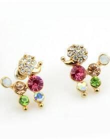 Multicolor Diamond Gold Stud Earrings