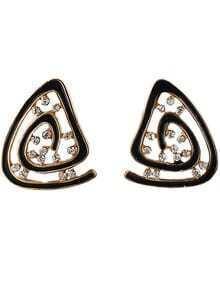 Black Glaze Gold Diamond Stud Earrings