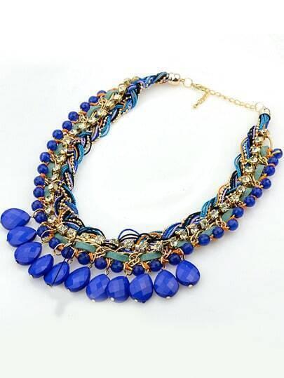 Blue Gemstone Tassel Necklace