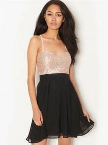 Black Spaghetti Strap Sequined Pleated Dress