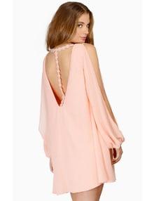 Pink Split Sleeve Backless Dress