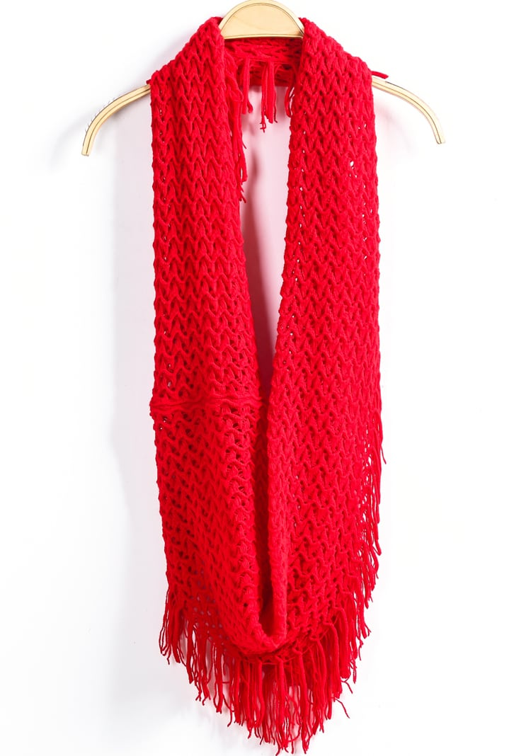 Red Grid Tassel Knit Scarf -SheIn(Sheinside)