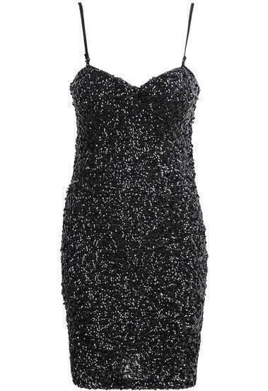 Black Spaghetti Strap Sequined Bodycon Dress