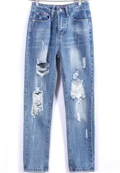 Сниние рваные джинсовые брюки