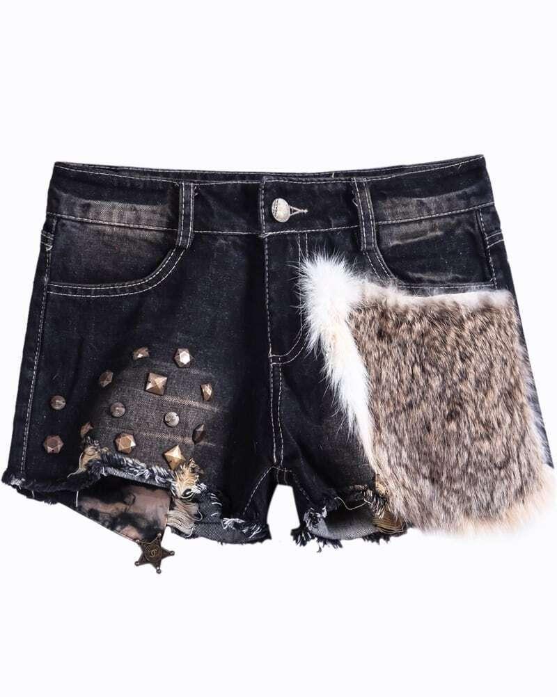 black rivet fur denim shorts sheinsheinside