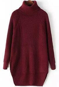 Red High Neck Long Sleeve Split Knit Sweater