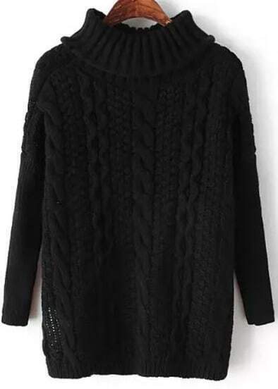 Black High Neck Long Sleeve Cable Knit Sweater