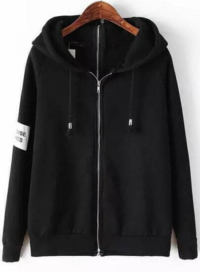 Black Hooded Long Sleeve zip Sweatshirt