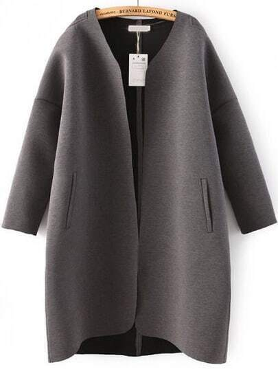 Grey Long Sleeve Pockets Loose Coat