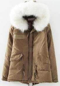 Khaki Faux Fur Trim Hood Long Sleeve Loose Coat
