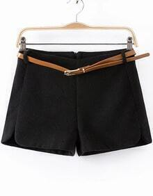 Black Zip Woolen Shorts