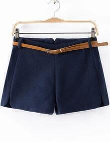 Blue Zip Woolen Shorts