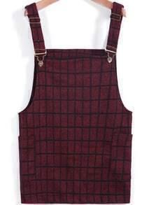 Wine Red Strap Plaid Pockets Woolen Dress
